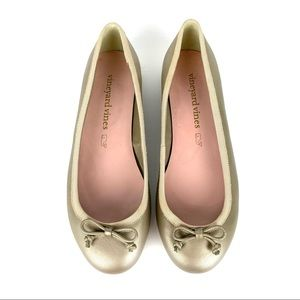 Vineyard Vines Leather Bow Ballet Flats Gold Size 7